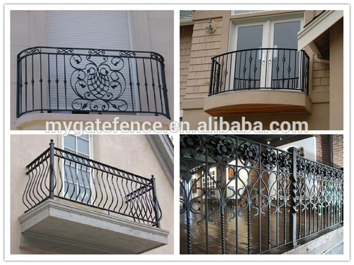 Yishujia factory veranda iron railing wrought iron stair for Balcony steel grill design