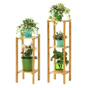 Wholesale 3 Tier Bamboo Multifunction Shelf Free Standing Storage Organizer Rack Plant Flower Stand
