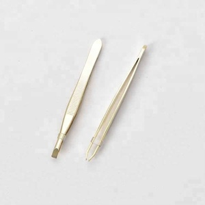 Golden Slant Tip Eyebrow Tweezer Precision Rose Gold Stainless Steel Flat Tweezer for Women