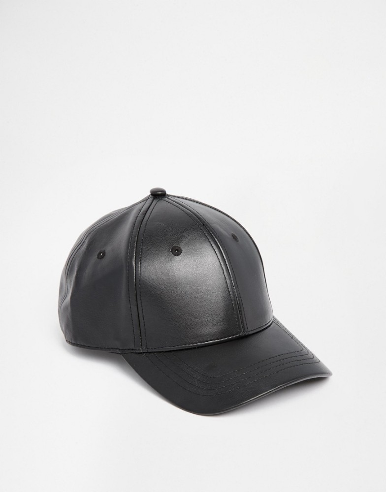 design your own logo leather caps blank baseball cap In black faux Leather wholesale caps