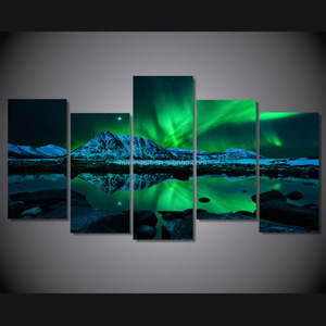 Amazon Bestseller 5 Panel Canvas Prints Aurora Wall Art for Home Office Decoration
