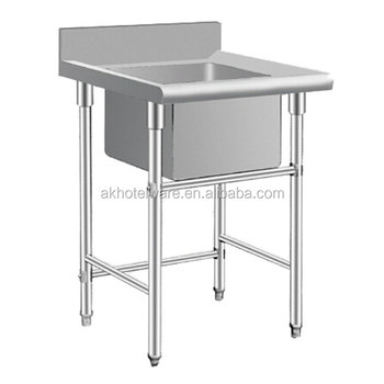 Wholesale Stainless Steel Fish Cleaning Table Stainless Steel Single Bowl Commercial Kitchen Sink Working Table China Factory Buy Restaurant