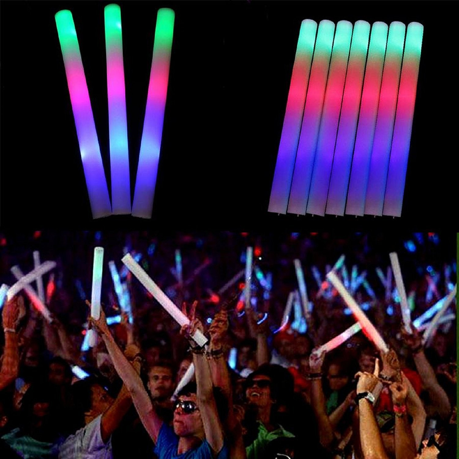 Velocity Toys 3 Modes Multi-Color 12 Pack of 18 Inch Glow LED Foam Sticks Party Flashing Light DJ Wands Concert, Festivals, Birthdays, Supplies, Weddings, Give Aways