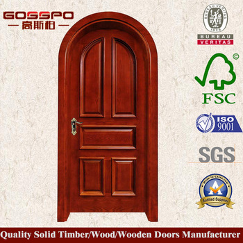 China Manufacturer Arched Top Interior Door Design Arched Red Oak Door