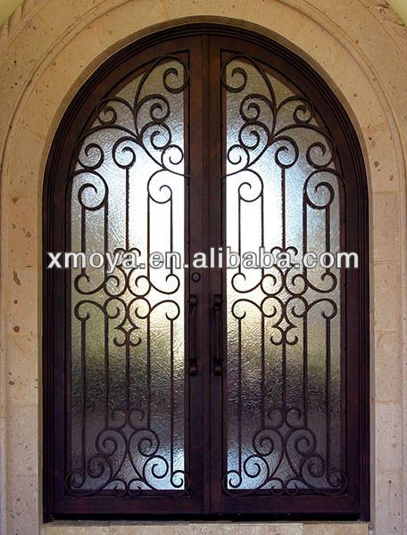 Grill door china wooden aluminium grill design french door Main entrance door grill