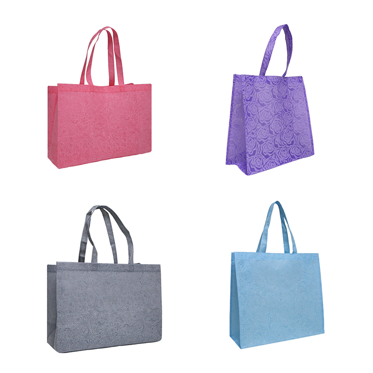 China Hot Sale Top Quality Ultrasonic Heat Seal Non Woven Bag Embossed Folding Non Woven Shopping Bag