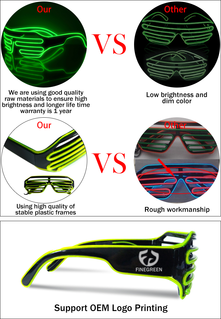 hot selling el wire shutter glasses led party sunglass