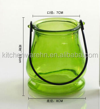 Haonai eco-friendly FDA,SGS food grade fancy green glass candle holder with handle