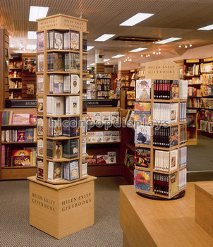 Book Store Or Library Fixture Flooring 4 Tier Rotating