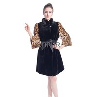 QD80167 Winter Women Long Real Rabbit Fur Coat with Beaver Sleeves