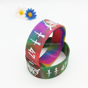 Promotional Debossed Ink Filled Mixed Color Custom Silicone Bracelet