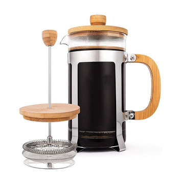 BPA free Eco-Friendly 1000ML Bamboo French Press Coffee Maker, coffee plunger for cold and hot coffee