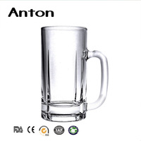 500ml Clear bottle beer glass cups with handle for sale