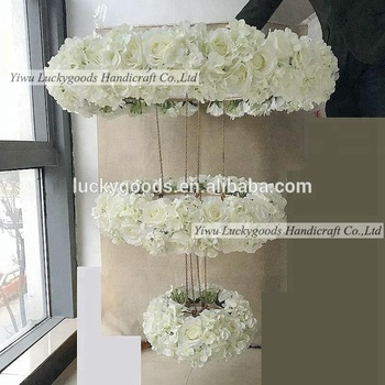Whole 3 Tier Cream White Rose And Hydrangea Hanging Flower Arrangement For Wedding Event