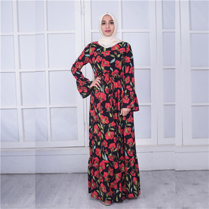 2018 fashion flower arabic kaftan women dress muslim wear