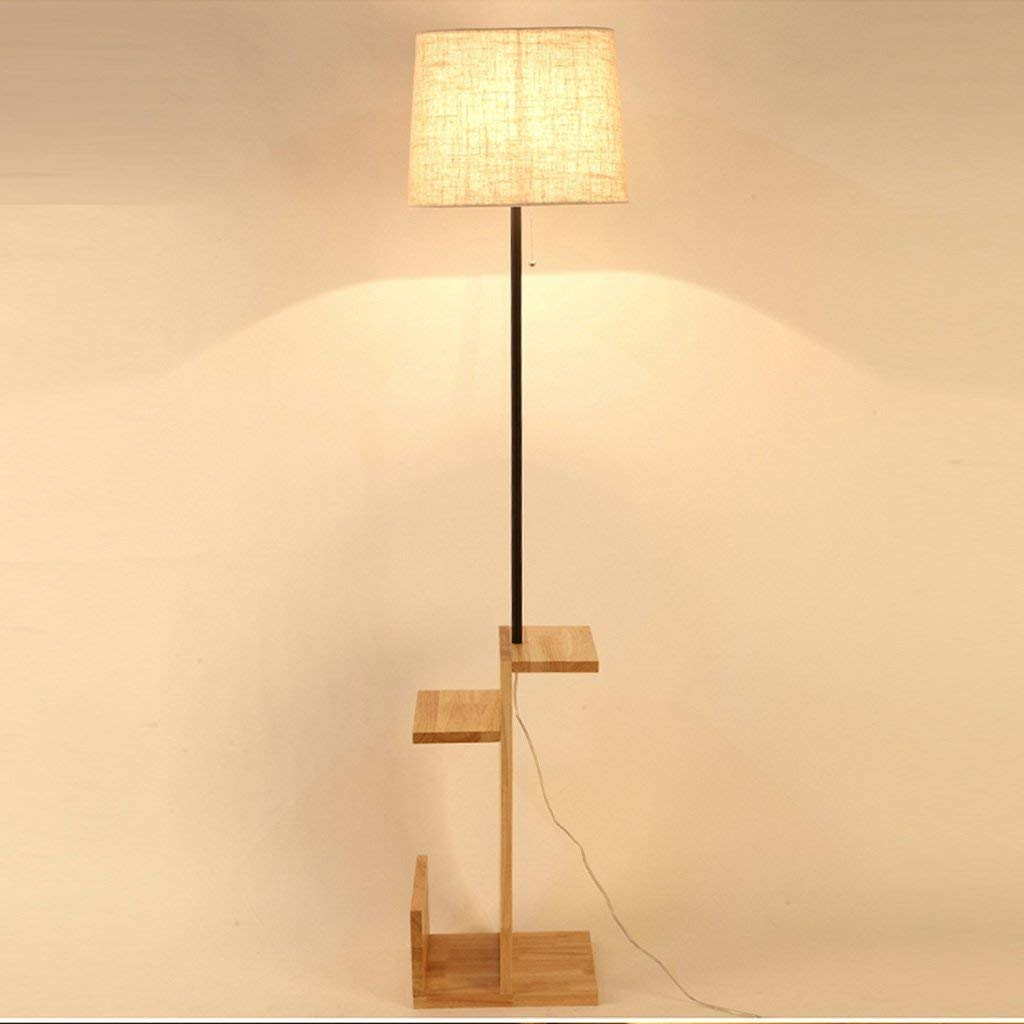 Nordic Simple and Modern Style Creative Storage Wooden Floor Lamp, fabric lampshade, Living Room Bedroom Bedside Table Lamp Study Office Lamp, Wooden Floor Lamp, E27 (Color : Buttom switch)