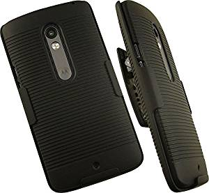 NAKEDCELLPHONE'S BLACK RIBBED RUBBERIZED HARD SHELL CASE COVER + BELT CLIP HOLSTER STAND FOR VERIZON MOTOROLA DROID MAXX 2 PHONE (XT1561, XT1562, XT1563, XT1565)
