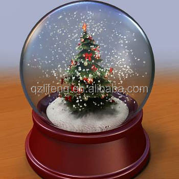wholesale christmas tree snow globe with music blowing snow