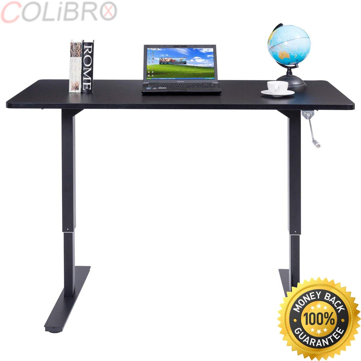 """COLIBROX--53"""" Wide Height Adjustable Standing Desk Sit to Stand with Crank Handle Black. height adjustable standing desk. electric adjustable sit/stand workstation. best amazon sit stand desk."""