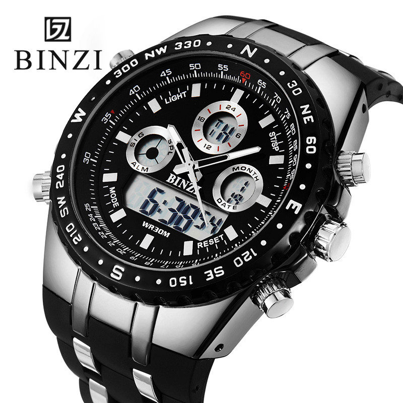 BINZI Brand Sports Wrist Watch Men's Military Waterproof Watches Fashion Silicone LED Digital Watch Men Wristwatches Clock Male