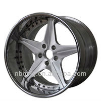 Chrome Lip ,Brush Center Aftermarket 3 pcs Forged Alloy Wheel