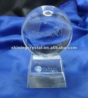 new design 3D laser engraved Crystal ball with base