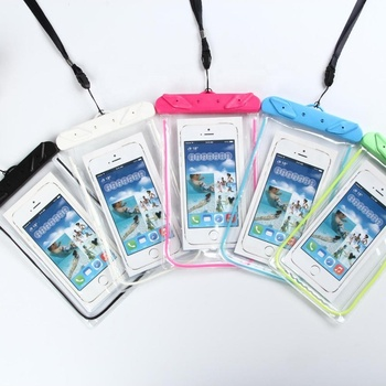 Newest purple Luminous mobile phone waterproof bag Compass waterproof cell phone bag for outdoor