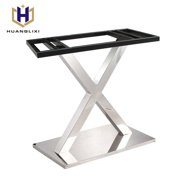 Furniture Legs Decorative X Shape Pedestal Stainless Steel Table Base For  Glass