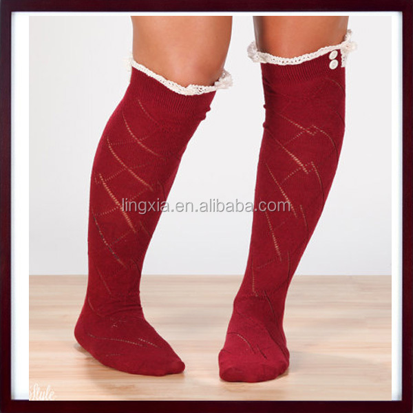 5ffd5e5baee Wholesale Ruffled Knitted Children s Boot Socks With Lace