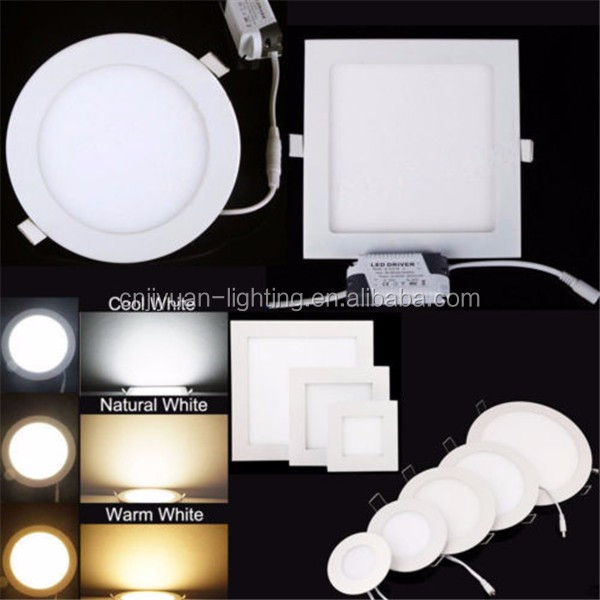 2015 high bright No need Cut ceiling flat round and square 6w 12w 18w 24w Surface mounted led panel light