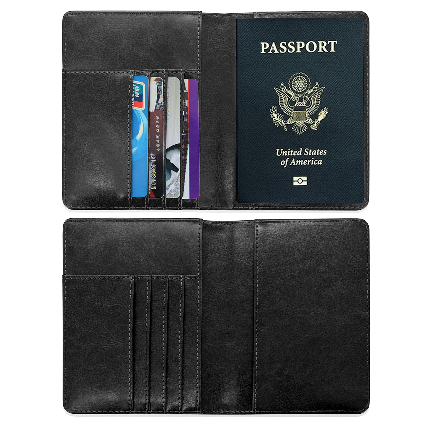 Custom Personalized Leather Travel Case Rfid Blocking, for Passport Holder with Business Card, Credit Card, black