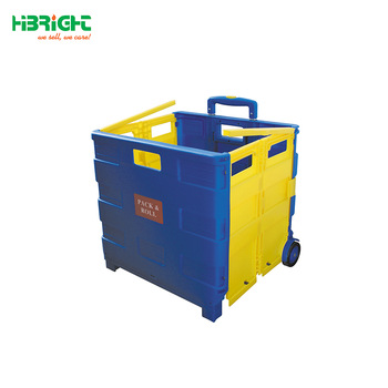 Attirant Folding Boot Cart Shopping Trolley Fold Up Storage Box With Wheels Crate  Foldable