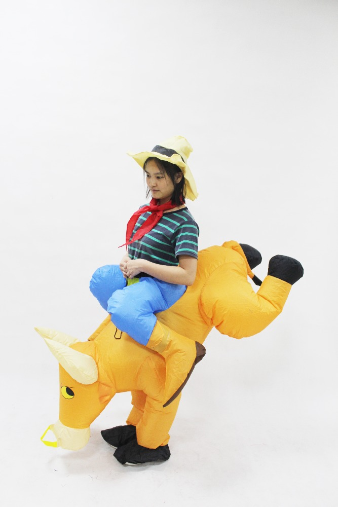 HI adult cow costume inflatable bull ride on animal costume for party