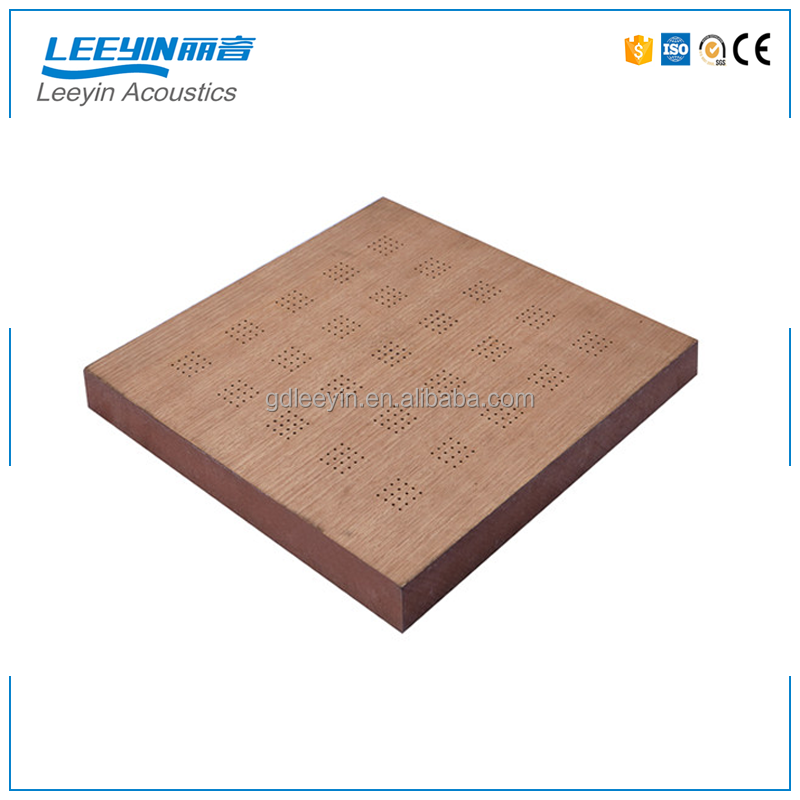Sound Reflective Materials Acoustic Ceiling Tiles Wooden Perforated