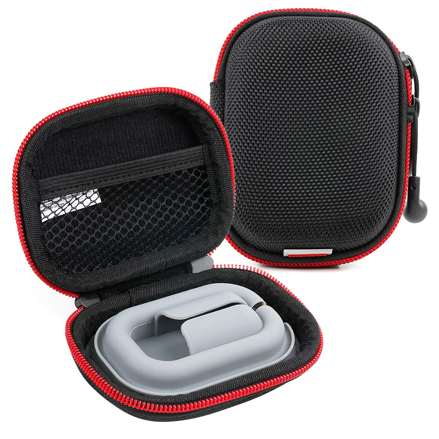 DURAGADGET Hard EVA Storage Case/Bag with Protective Silicone Padding for Earphones in Black and Red for Sony: MDREX50LPB/MDREX50LPR/MDREX50LPW/XBA-4/XBA-2/XBA-C10