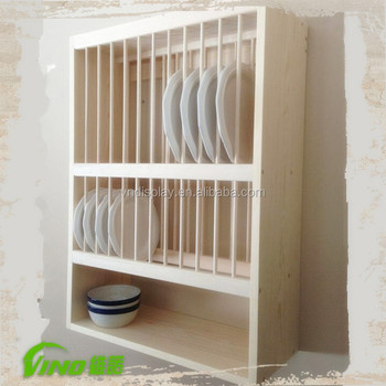 Kitchen Wooden Slatewall Wall Mounted Display Cabinet Rack Countertop