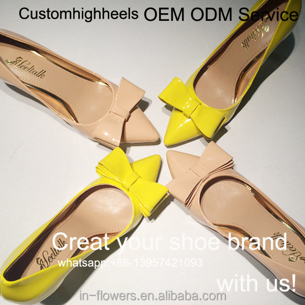 nude yellow fancy heel women 2017 handmade ODM OEM shoes shoes ladies girl's low qwUgY