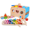 Wooden Learning Hammering & Pounding Toys + 8 Notes Xylophone + Shape Color Recognition, Best Birthday Gift
