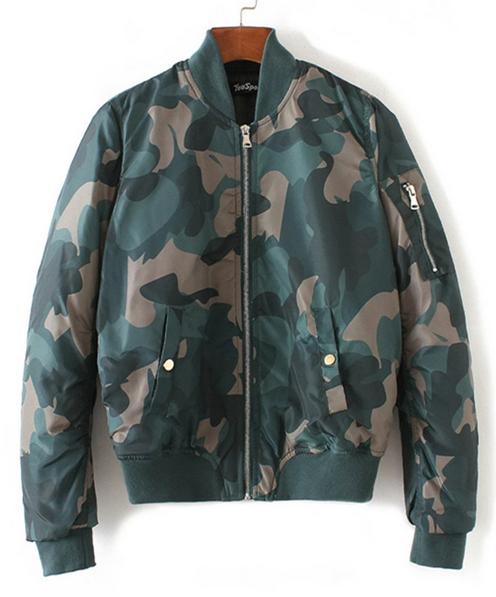 Custom fashion blank women camouflage ma1 bomber jacket