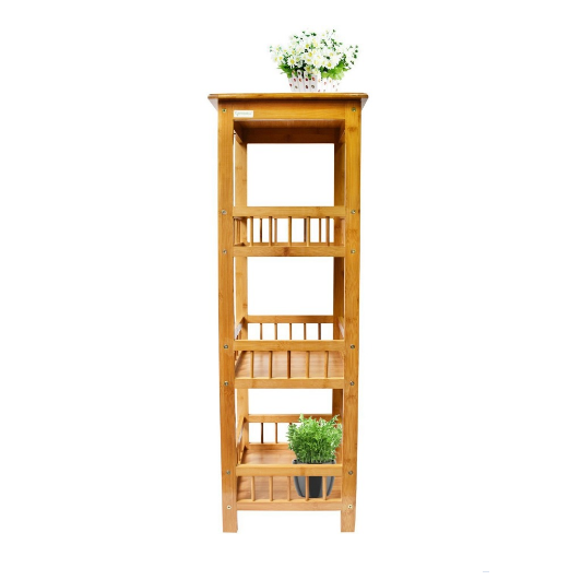 Multifunctionele Bamboe 4 Tier indoor plant display rekken tuin bloempot plank rack