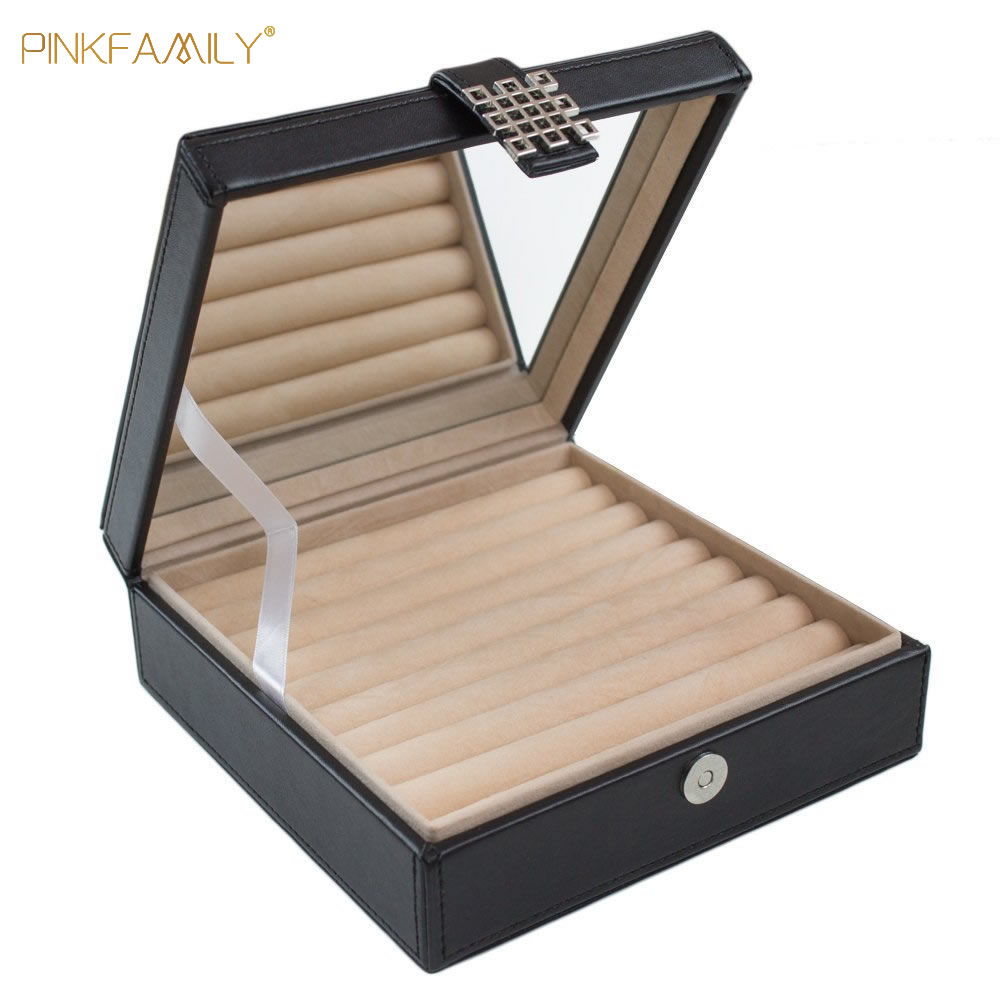 Novelty black ring box jewelry display rings organizer showcase earring case