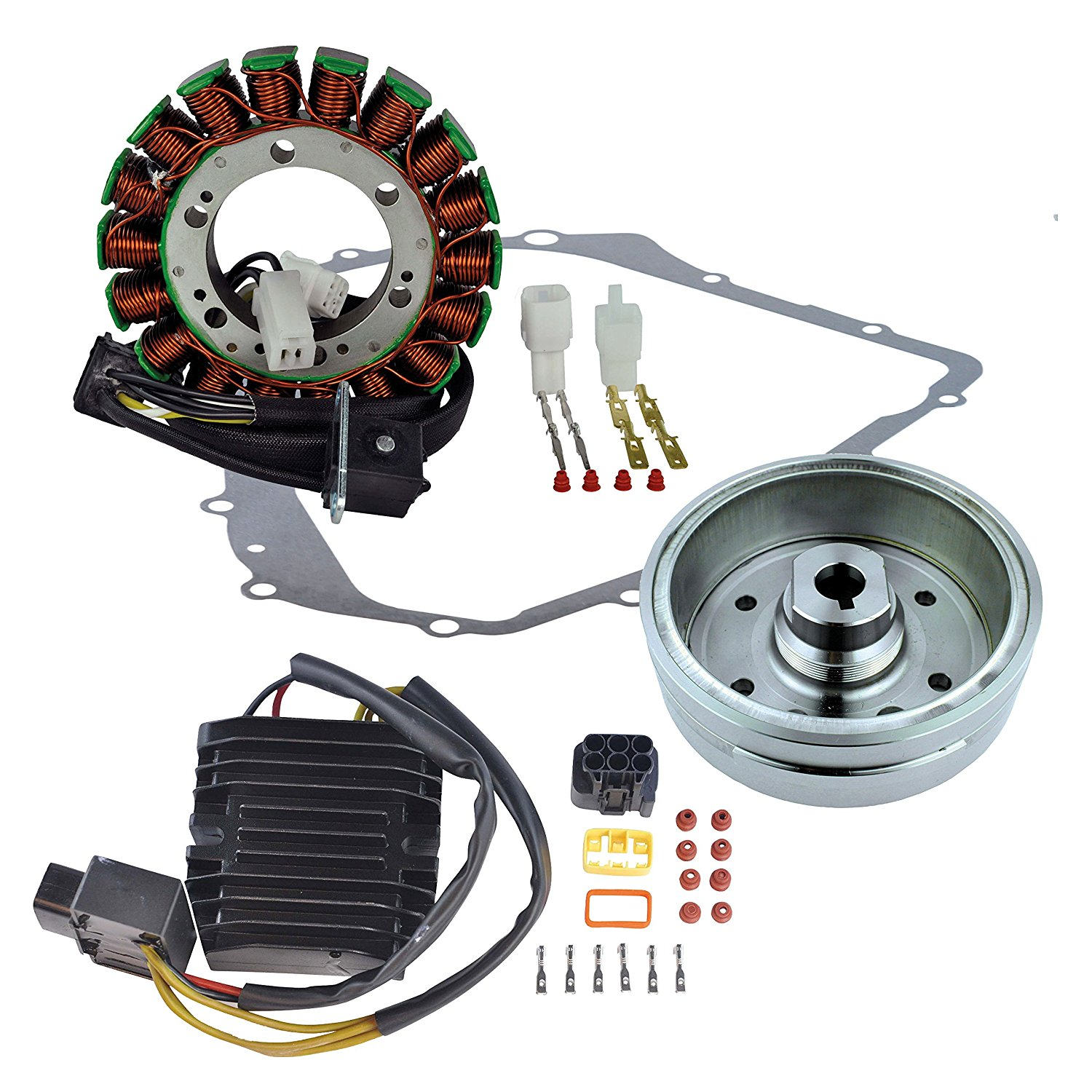 Kit Stator + Improved Flywheel + Mosfet Regulator Rectifier + Crankcase Cover Gasket For Suzuki LTA 400 Eiger 2002 2003 2004 2005 2006 2007
