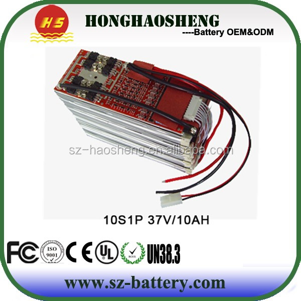 With PCB protected HS-8070270-10S1P 3.7v 10ah rechargeable polymer lithium battery pack