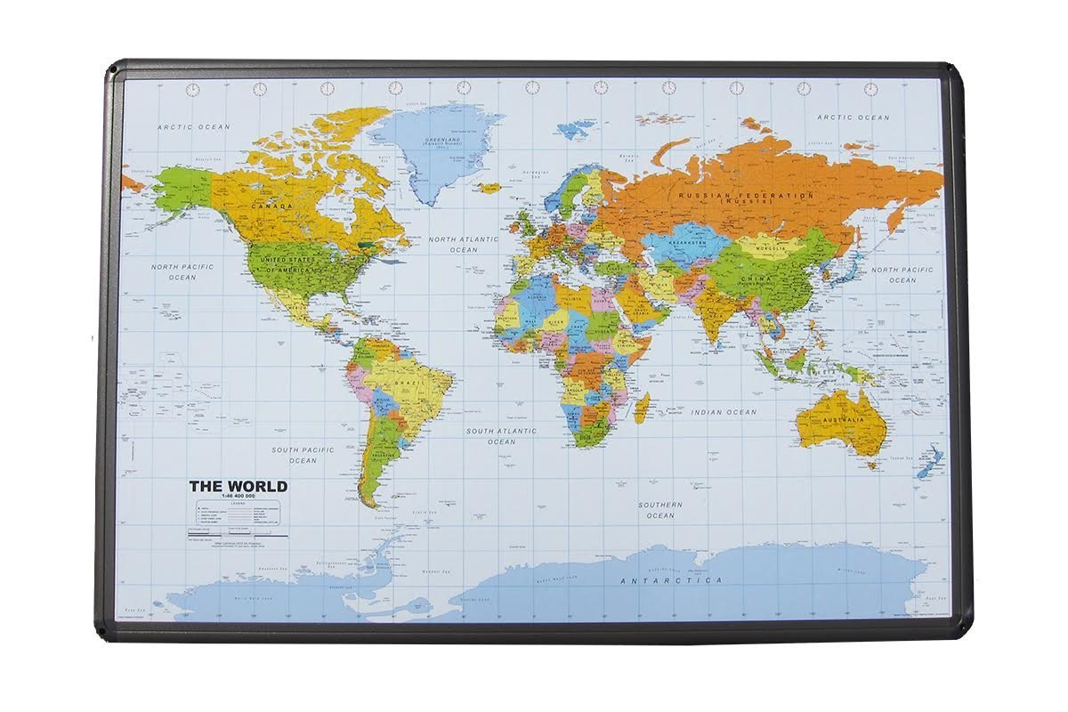 "Political World Map on Cork Pinboard 24"" x 36 with Aluminum Frame"