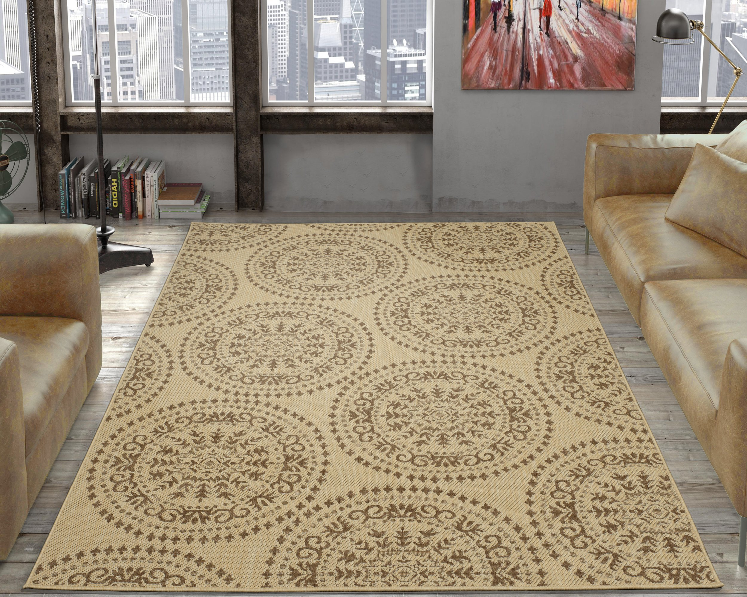 "Ottomanson JRD9291-5X7 Jardin Collection Medallions Indoor/Outdoor Jute Backing, 5'3"" X 7'3"", Beige Area Rug"