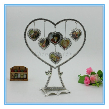 Metal Heart Shape Family Tree Photo Holder With Diamond For 6pcs