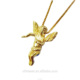 Olivia Trendy Products 18k Yellow Gold plated Stainless Steel Guardian Angel Charm Necklace Wholesale Costume Jewelry