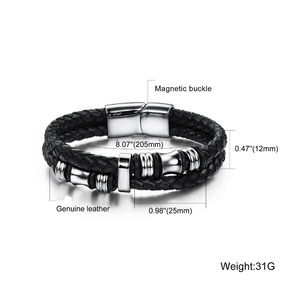 Men Black Braided Wristband Genuine Titanium Steel Cuff Buckle Leather Bracelet