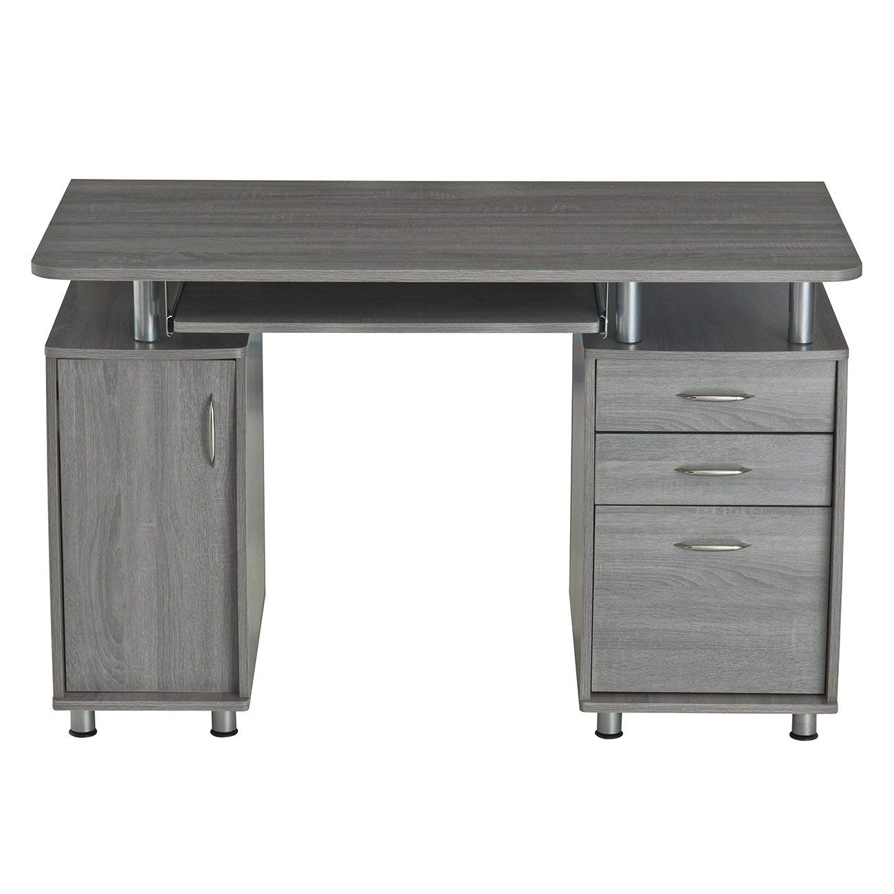 MyEasyShopping Modern Designs Grey MDF Multifunctional Office Desk With File Cabinet Keys Office Cabinet Desk File Furniture 2