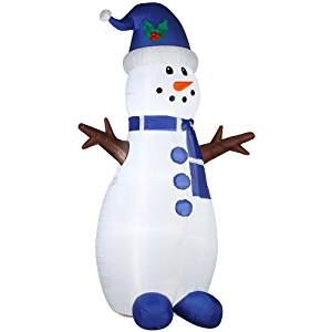 Gemmy Airblown Inflatable Tall Skinny Snowman with Stick Arms Wearing Blue Hat and Scarf - Indoor Outdoor Holiday Decoration, 7-foot Tall